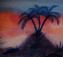 Palms on a hill at sunset,(darker version) Series #2, watercolor by Anna  Lewis
