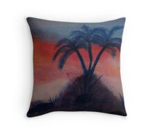 Palms on a hill at sunset,(darker version) Series #2, watercolor Throw Pillow