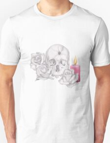 Skull with Roses and Candle T-Shirt