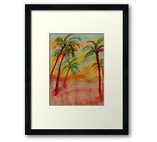 Tall Palms in the  desert, watercolor Framed Print