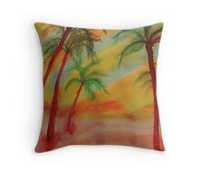 Tall Palms in the  desert, watercolor Throw Pillow