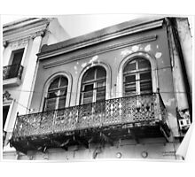 Old Building with a Balcony, Black and White Poster