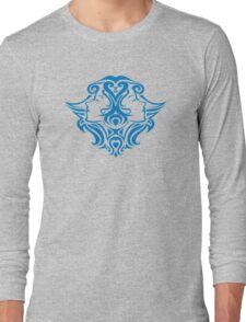 Zodiac Sign Gemini Blue Long Sleeve T-Shirt