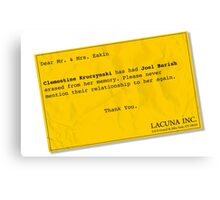 Lacuna Reminder Canvas Print