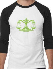 Zodiac Sign Libra Green Men's Baseball ¾ T-Shirt