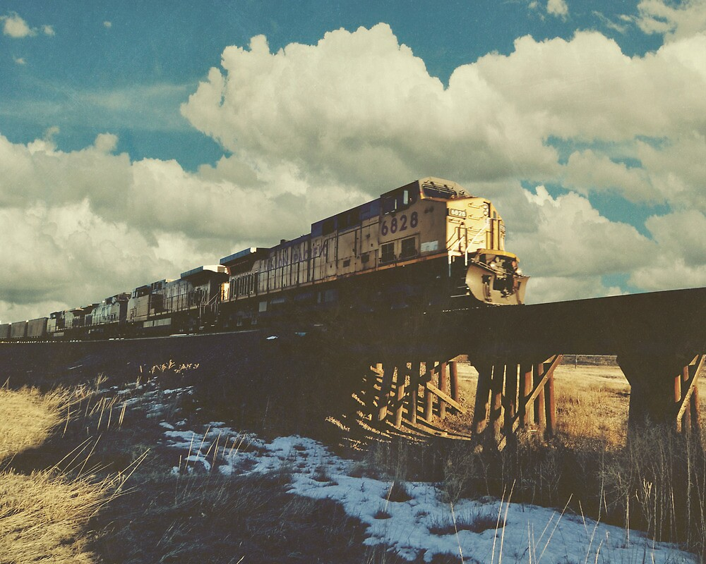 """Blue Sky Train Crossing"" by eleven12design"
