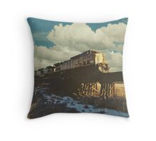 """Blue Sky Train Crossing"" Throw Pillow"