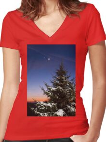 Winter's Night Women's Fitted V-Neck T-Shirt