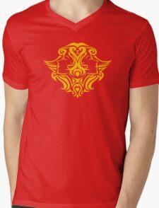 Zodiac Sign Gemini Gold Mens V-Neck T-Shirt