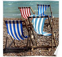 Deckchairs in Brighton (2) Poster