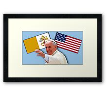 Pope with flags 1 Framed Print