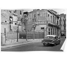 Vintage Car in Old Havana Town Poster