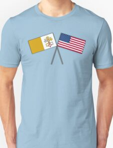 Papal flag with American flag T-Shirt
