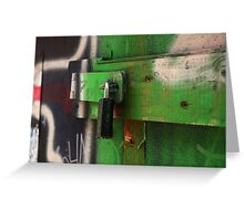 lock painted with green graffiti Greeting Card