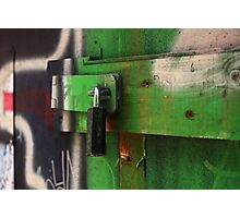 lock painted with green graffiti Photographic Print