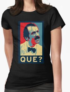 QUE? Womens Fitted T-Shirt