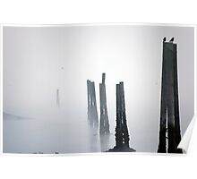 Pilings in the fog Poster