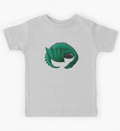 Sea Dragon Curled Around Sleeping Cat Kids Tee