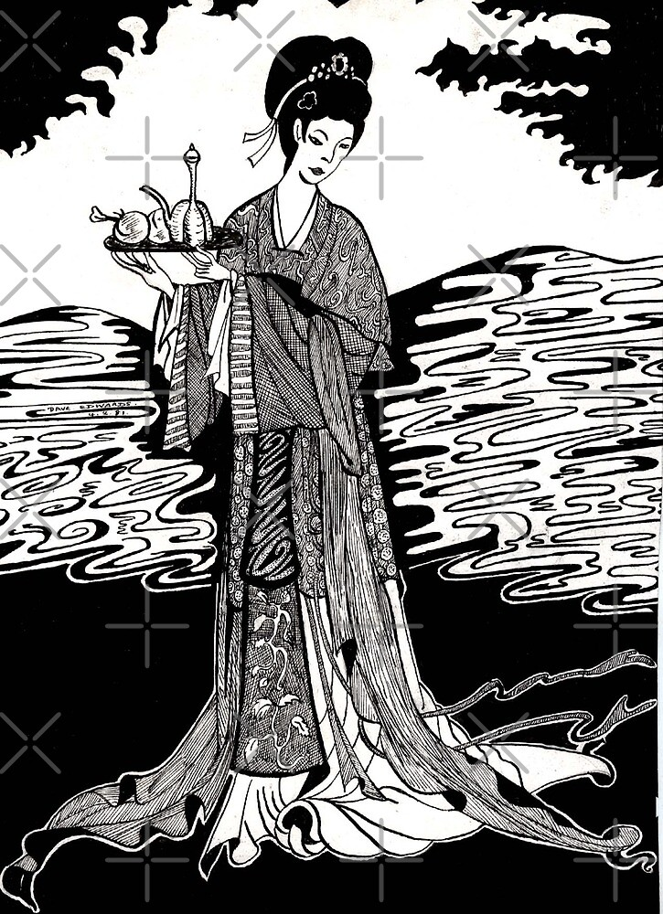 41 - JAPANESE LADY - DAVE EDWARDS - INK - 1981 by BLYTHART
