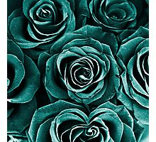 Rose Bouquet in Turquoise Photographic Print