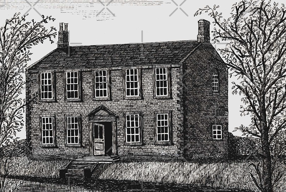 044 - HAWORTH PARSONAGE AS THE BRONTES KNEW IT - DAVE EDWARDS - PEN & INK - 1981 by BLYTHART
