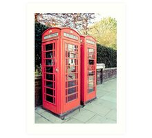 Red Phone Booths in the Spring Art Print