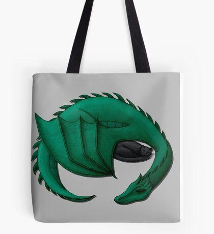 Sea Dragon Curled Around Sleeping Cat Tote Bag