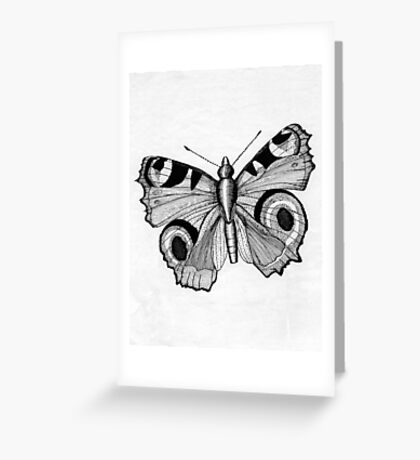048 - ADULT PEACOCK BUTTERFLY - DAVE EDWARDS - PEN & INK - 1981 Greeting Card