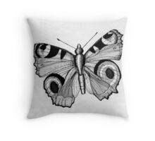 048 - ADULT PEACOCK BUTTERFLY - DAVE EDWARDS - PEN & INK - 1981 Throw Pillow