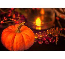 Mini Pumpkin and Candle Light Photographic Print