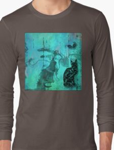 Three Cats, Two Mice On The Wall Long Sleeve T-Shirt
