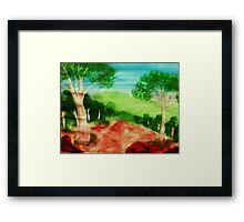 Looking out to the valley on stroll, watercolor Framed Print