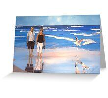 beach stroll on Coolum Beach, Queensland, Australia Greeting Card