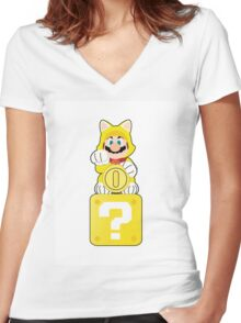 Lucky Cat Mario Women's Fitted V-Neck T-Shirt