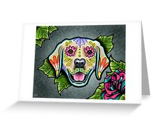 Day of the Dead Golden Retriever Sugar Skull Dog Greeting Card