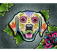 Day of the Dead Golden Retriever Sugar Skull Dog Photographic Print