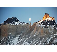 Torres del Paine Mountain Moonrise in Chile Photographic Print