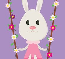 The Bunny in the Swing by bluedragonshop