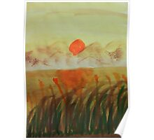 Sunset over the reeds by lake, watercolor Poster