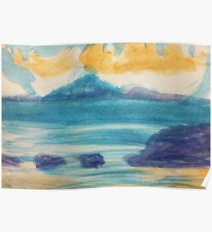 Blue Ocean scene, watercolor Poster