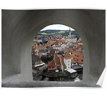 Cesky Krumlov through a hole. Poster