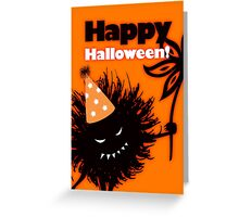 Evil Bug With Flower Happy Halloween Greeting Card