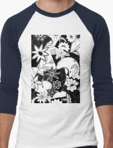 Tangled Collage 4 - Collaged Monoprints With Tangling White Background Men's Baseball ¾ T-Shirt