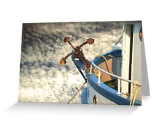 Boat with anchor in the sky Greeting Card