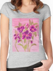 pansies patch Women's Fitted Scoop T-Shirt