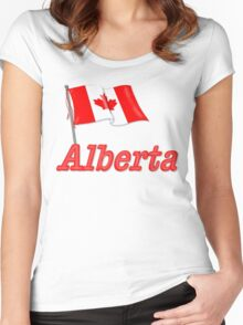 Canada Waving Flag - Alberta Women's Fitted Scoop T-Shirt