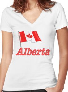 Canada Waving Flag - Alberta Women's Fitted V-Neck T-Shirt