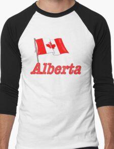 Canada Waving Flag - Alberta Men's Baseball ¾ T-Shirt