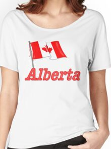 Canada Waving Flag - Alberta Women's Relaxed Fit T-Shirt