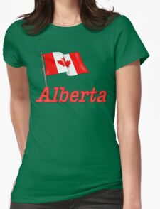 Canada Waving Flag - Alberta Womens Fitted T-Shirt
